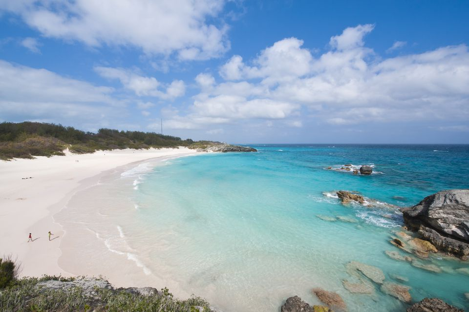 A wide shot of Bermuda's Horseshoe Bay Beach