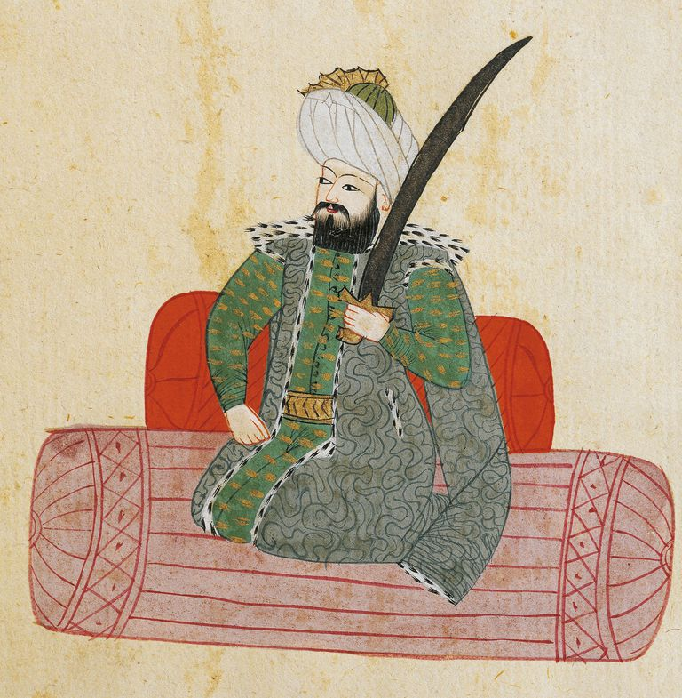 Portrait of Osman I (Sogutt, 1258-1326), founder of Ottoman dynasty and first Sultan of Ottoman Empire, illustration from Turkish Memories, Arabic manuscript, Cicogna Codex, 17th century