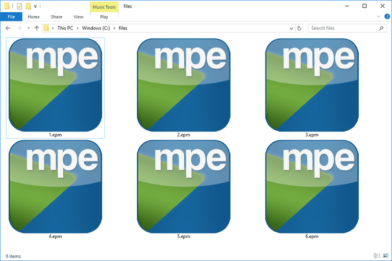 Screenshot of several EPM files in Windows 10 that open with Play MPE Player