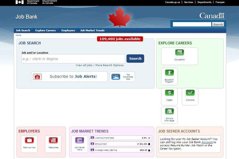 HRDC Job Bank of Canada website
