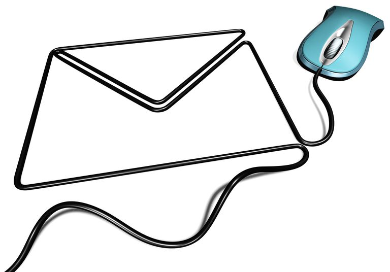 Blue computer mouse with cable forming an envelope