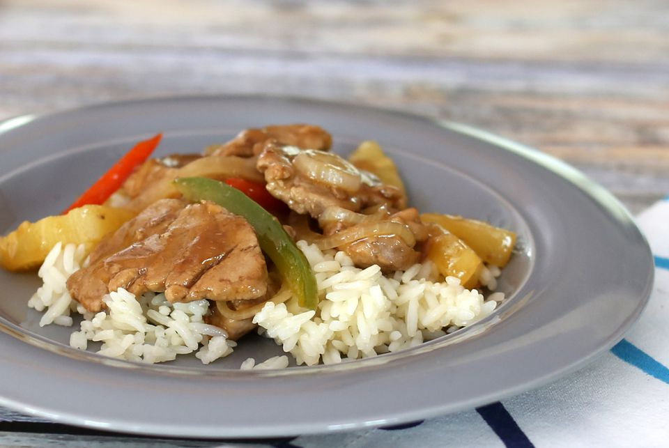 sweet and sour pork with pineapple on rice, slow cooker