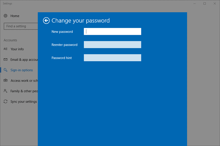 Screenshot showing how to change a user password in Windows 10