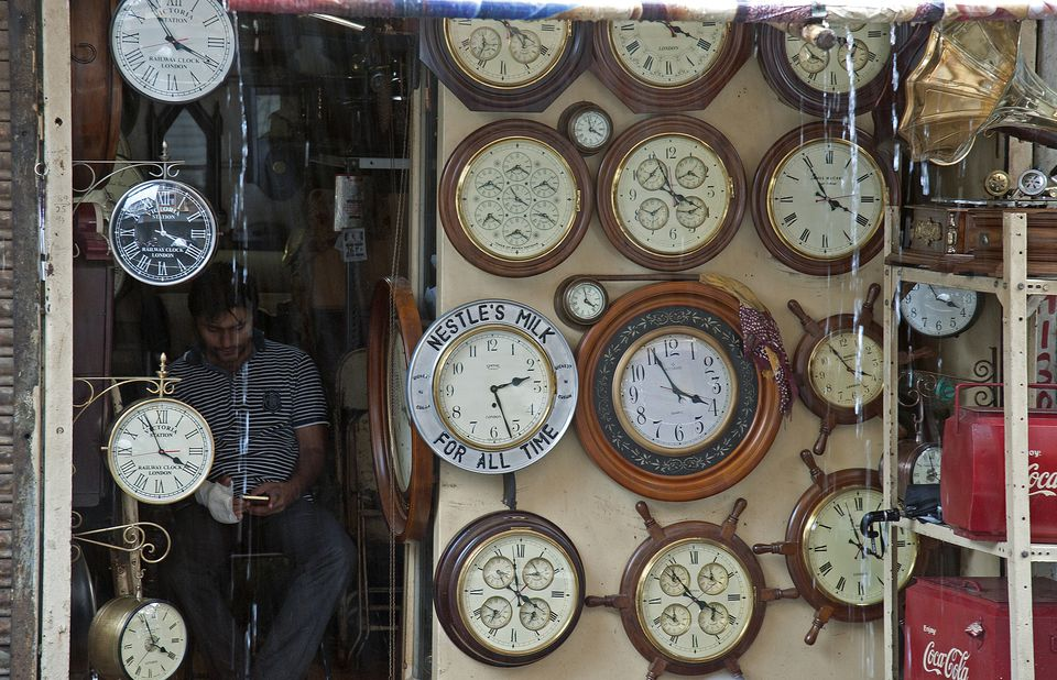 Watch shop in Chor Bazar, Mumbai, India