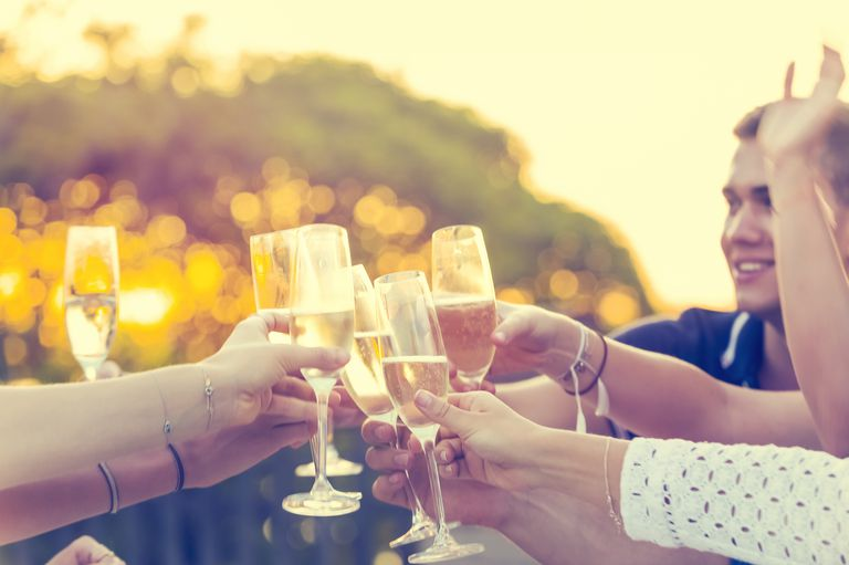 Group of friends drinking champagne.