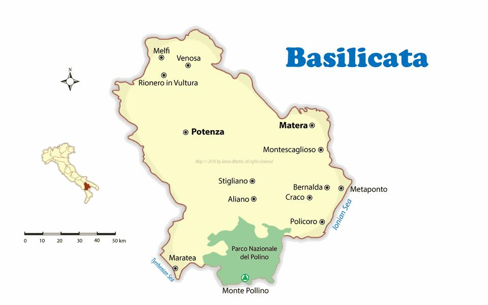 map of basilicata region