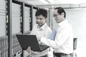 IT staff in computer server room