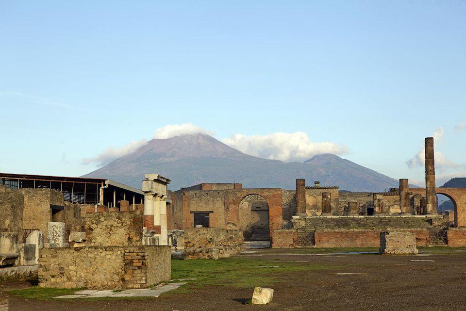 Pompeii ruins and Mount Vesuvius in the distance