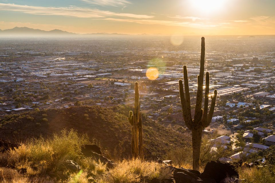 A sunset view of Phoenix, AZ from atop a hill