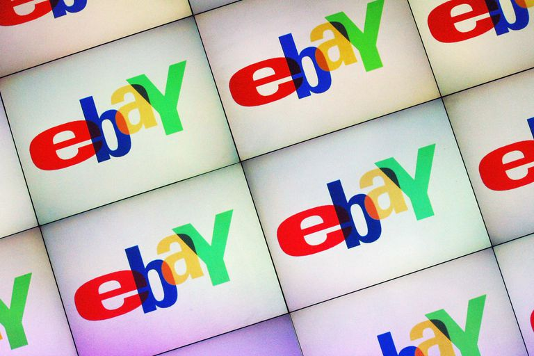 A large monitor displays the Ebay logo at an Ebay Live event on September 27, 2003 in Berlin, Germany