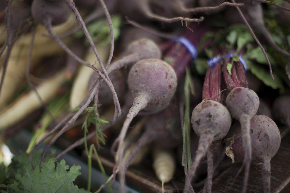 Organic beets at a farmers' market