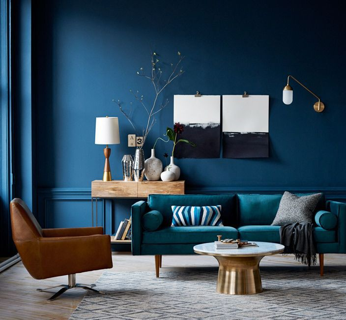 Modern room color blocked in blue