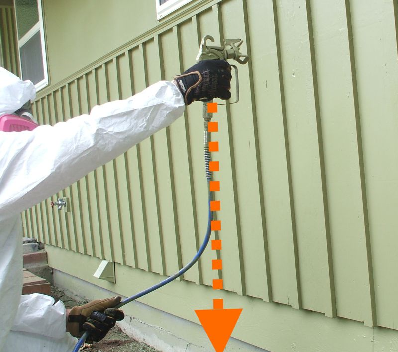 How to Use a Paint Sprayer - Keep Spray Gun Parallel to Wall
