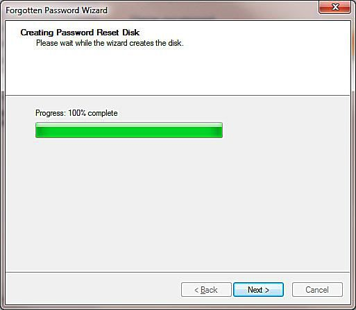 A screenshot of creating a Windows 7 Password Reset Disk