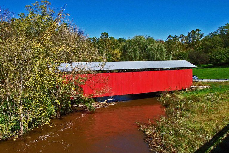 A covered bridge in Wilberforce, Ohio, about two miles from campus