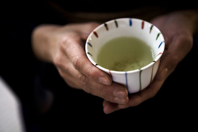 brewing a cup of green tea