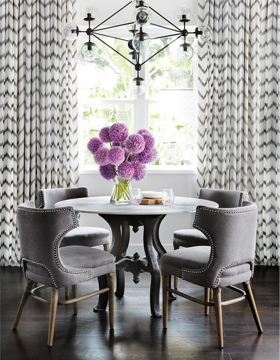 Gray Dining Room With Chevron Curtains