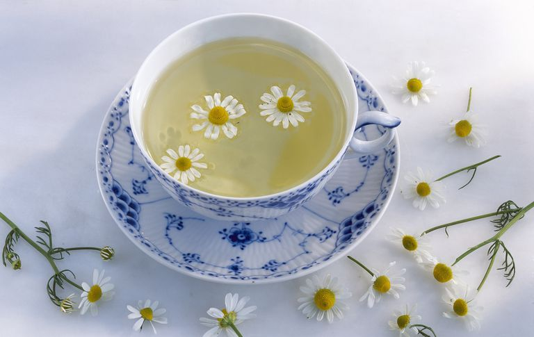 Herbal tea with camomile sprigs, close-up