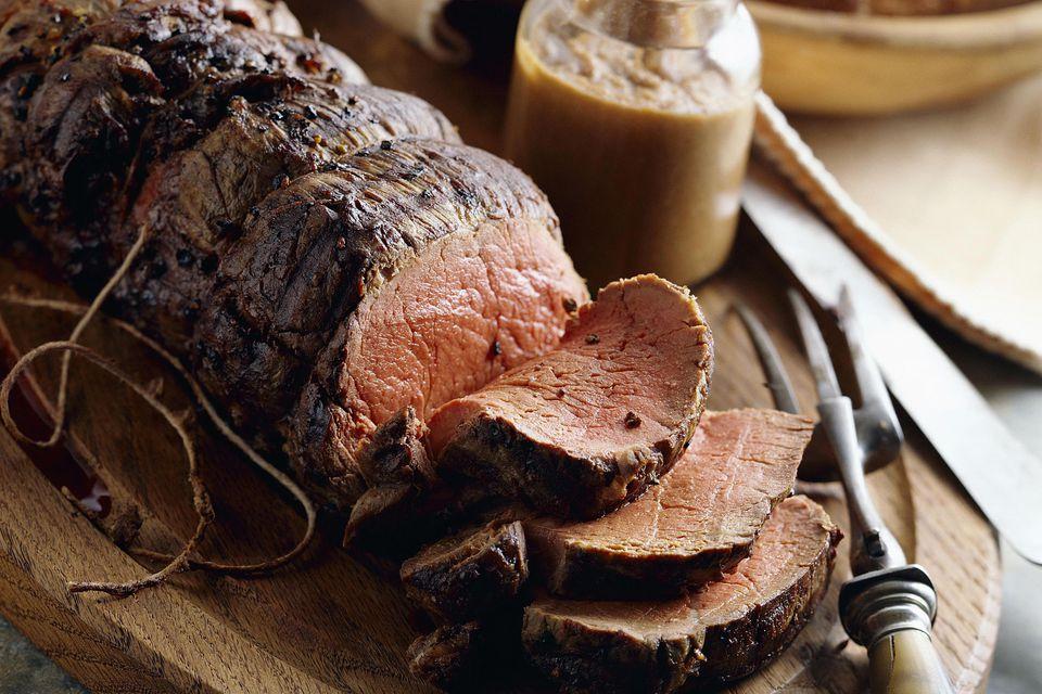 Beef tenderloin on cutting board