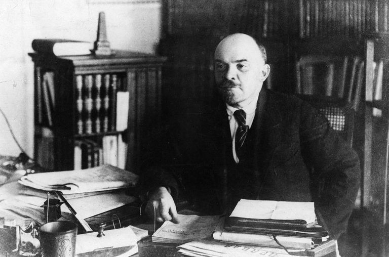 Russian revolutionary, Vladimir Ilyich Lenin (1870 - 1924), in his office.