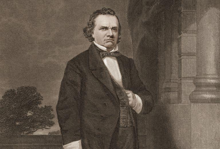 Engraved portrait of Senator Stephen Douglas