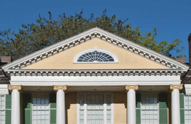 Pediment of the Griswold House at Florence Griswold Museum, Old Lyme, Connecticut