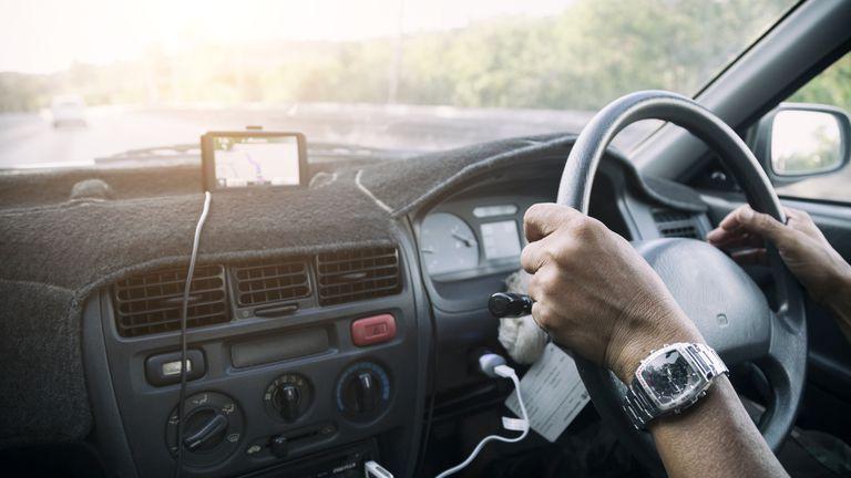 A GPS unit in a car.