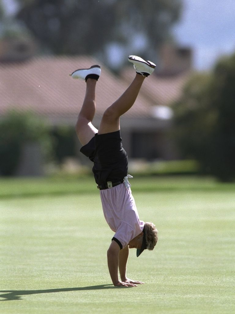 Patty Sheehan does a cartwheel during the Nabisco Dinah Shore held at Mission Hills Country Club in Ranch Mirage, California in 1996