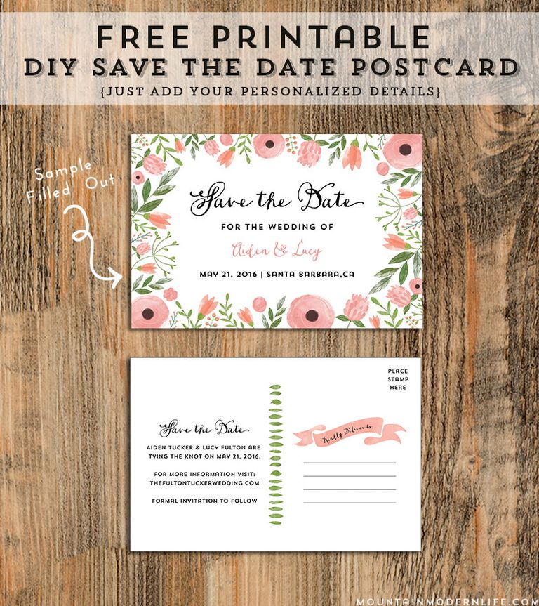 A pink and green floral save the date wedding template