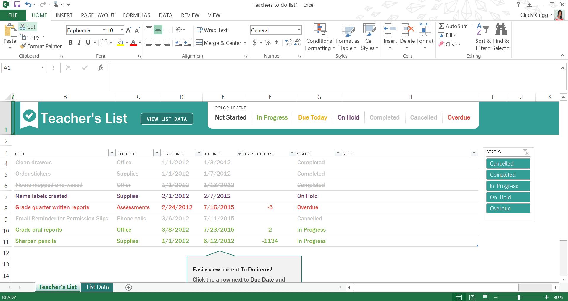microsoft template to do list