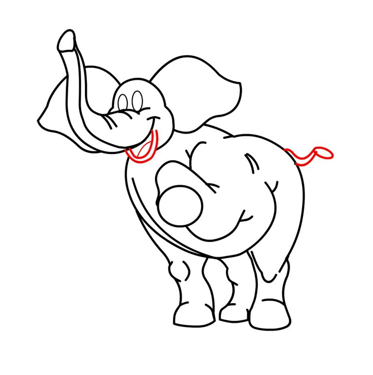 drawing a cartoon elephant completing the outline drawing - Cartoon Outline Drawings