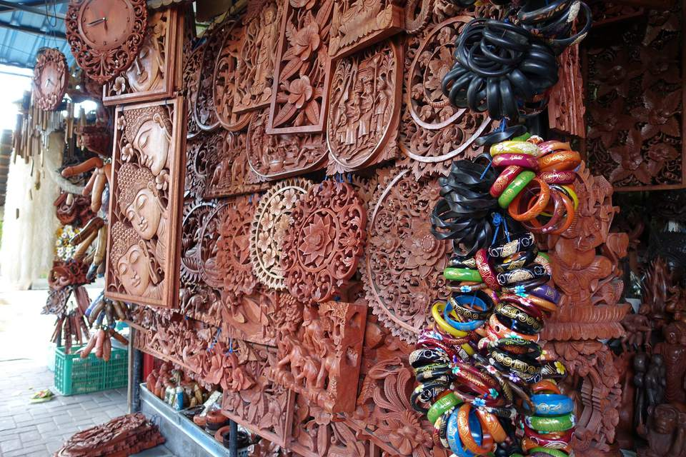 Wood carvings sold at Kuta, Bali