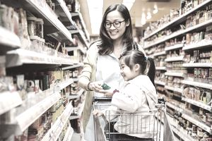 Mom & daughter shopping at supermarket