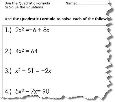Power Worksheet Physics Word Use The Quadratic Formula To Solve The Equations Quadratic  Counting Worksheets Ks1 with Human Pedigree Worksheet Excel Quadratic Formula Worksheet   Business Income Worksheet Iso Excel