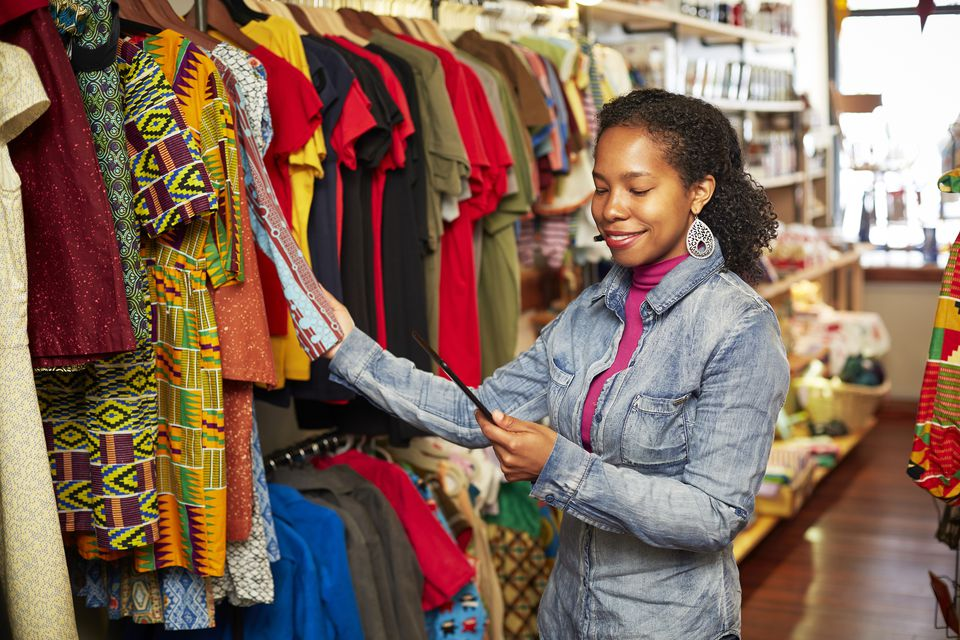 Black woman working in store