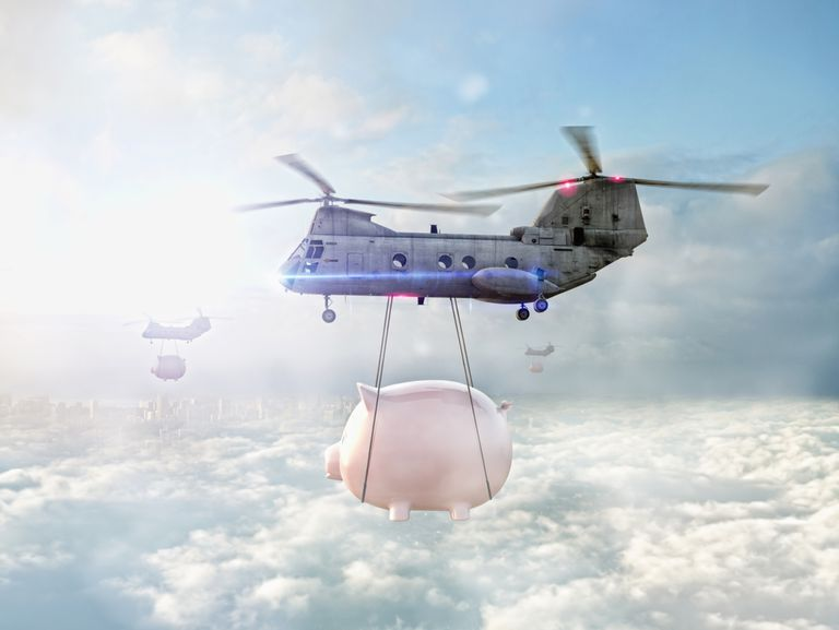 A helicopter carrying a piggy bank. Filing an extension won't cause them to take your piggy bank away.