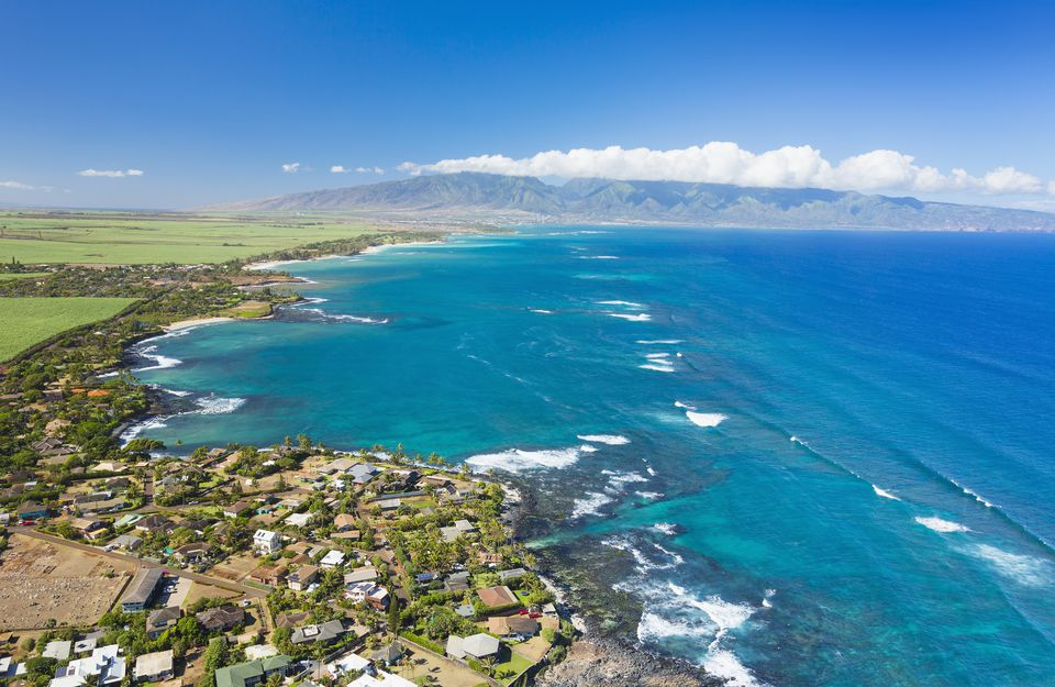 Aerial view of the North shore coastline, Paia and Kuau towns; Maui, Hawaii, United States of America