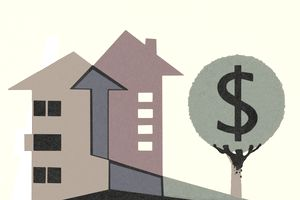 Home value illustration with arrows up and tree growth