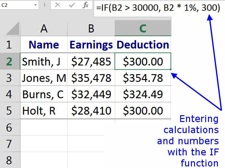 Entering Calculations or Numbers with the IF Function in Excel