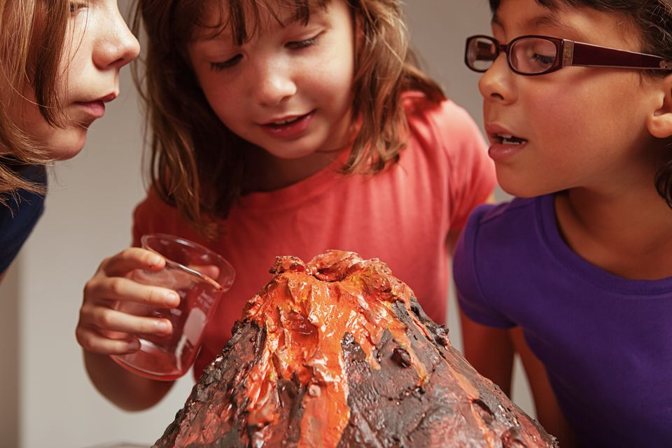 how to make a volcano project with paper mache