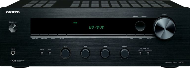 The front panel of the Onkyo TX-8020 stereo receiver