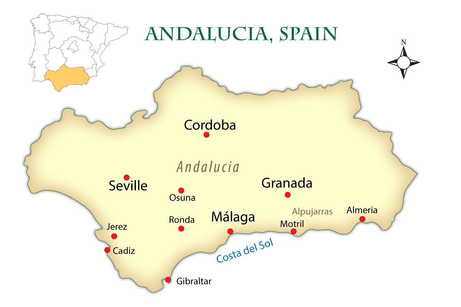 Andalusia Spain Cities Map And Guide - Portugal major cities map