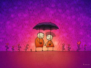 A couple under an umbrella.