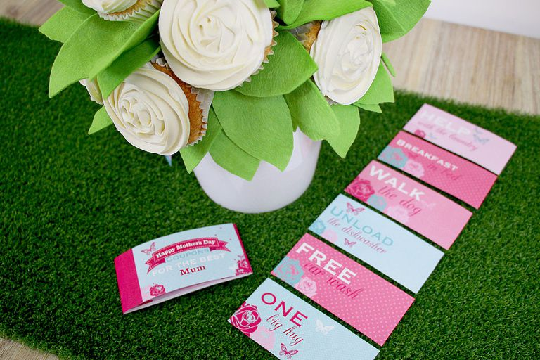 Pink and blue Mother's Day coupons