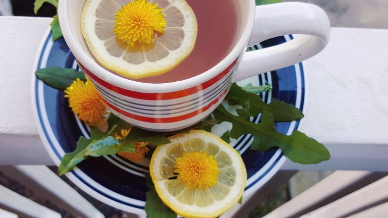 Lemon and flower in tea