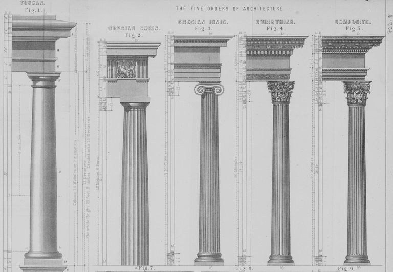 illustration of five architectural column types -- some fluted shafts and some ornate capitals -- with their associated entablatures