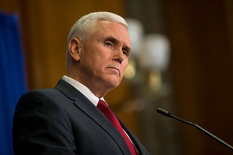 Indiana Gov. Mike Pence is picture here speaking in 2015.