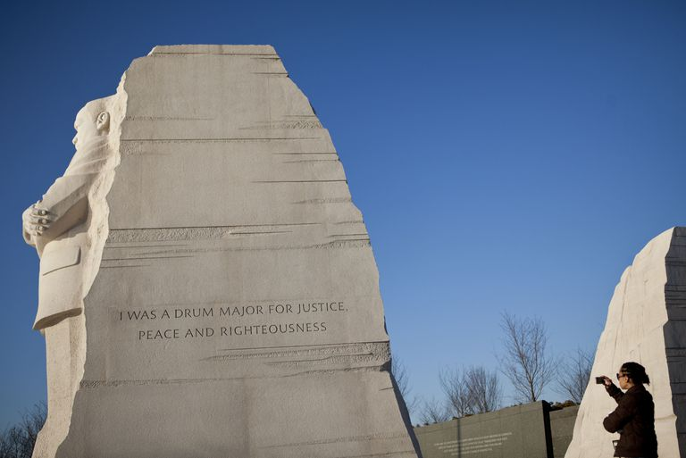 Martin Luther King Jr. memorial with controversial paraphrased quote, I was a drum major