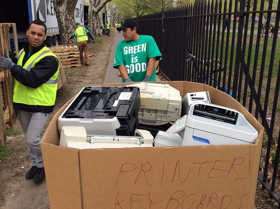 Technological Waste Printers and keyboards discarded at the Safe Disposal program, organized by the government of New York, offers residence a drive-through drop off their unwanted electronics in the Brooklyn borough of New York, New York, United States.