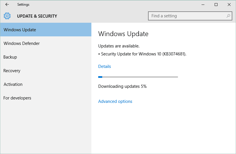 window update stuck